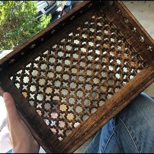Wooden Carved Mirrored Tray Boho Chic